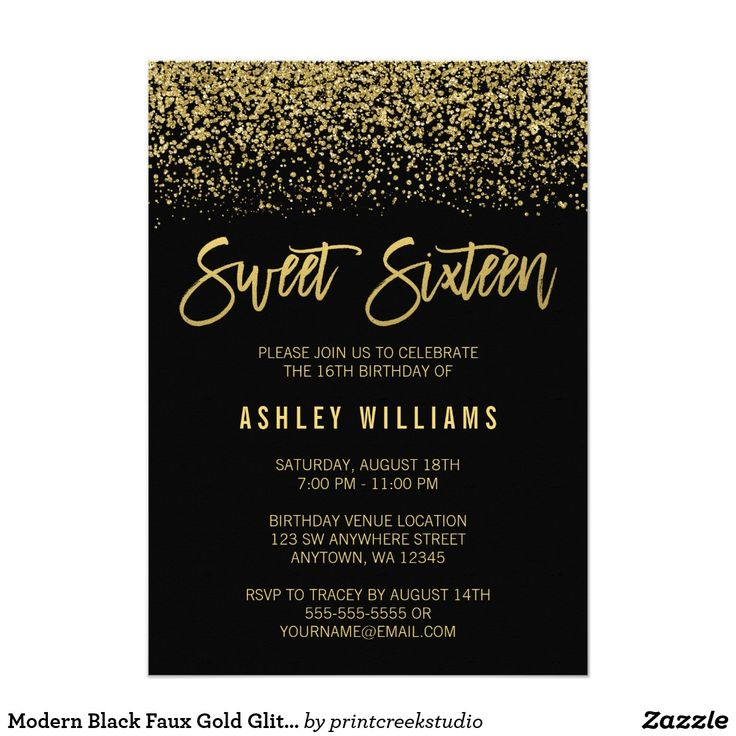 Modern Black Faux Gold Glitter Sweet 16 Birthday Card