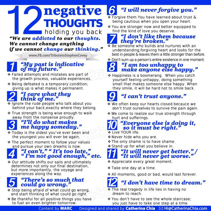 12 Negative thoughts that hold you back