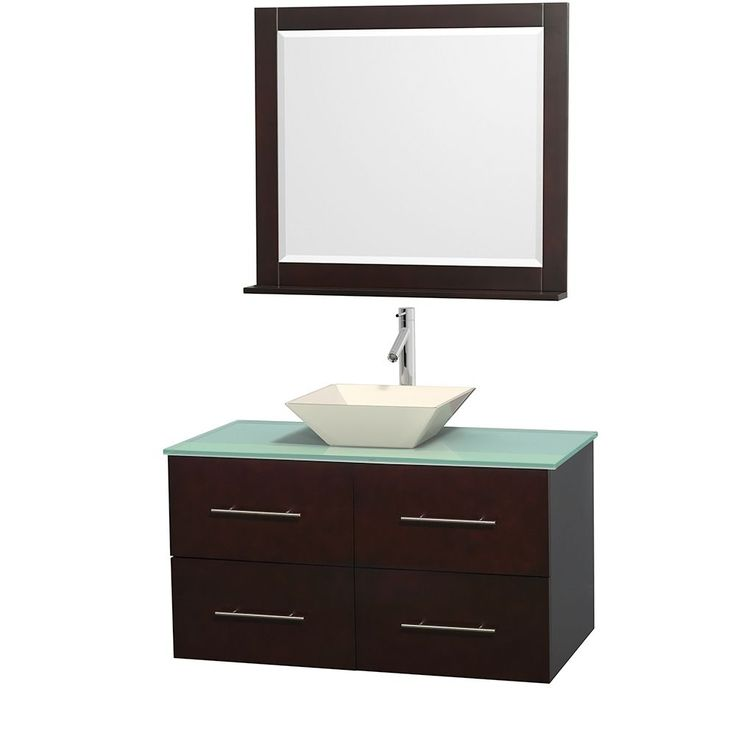 The Art Gallery Wyndham Collection Centra Espresso inch Single Green Glass Bathroom Vanity with Mirror