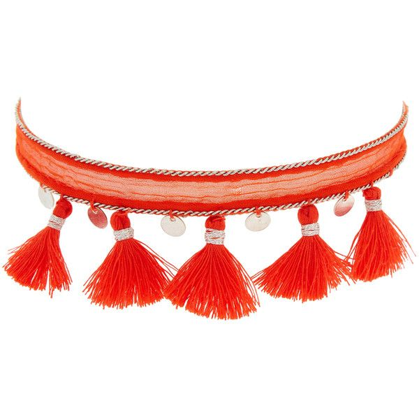 Chan Luu Women's Chiffon Tassel & Coin Choker Necklace - Red ($42) ❤ liked on Polyvore featuring jewelry, necklaces, red, tassel jewelry, choker necklace, coin jewelry, long necklaces and chan luu necklace