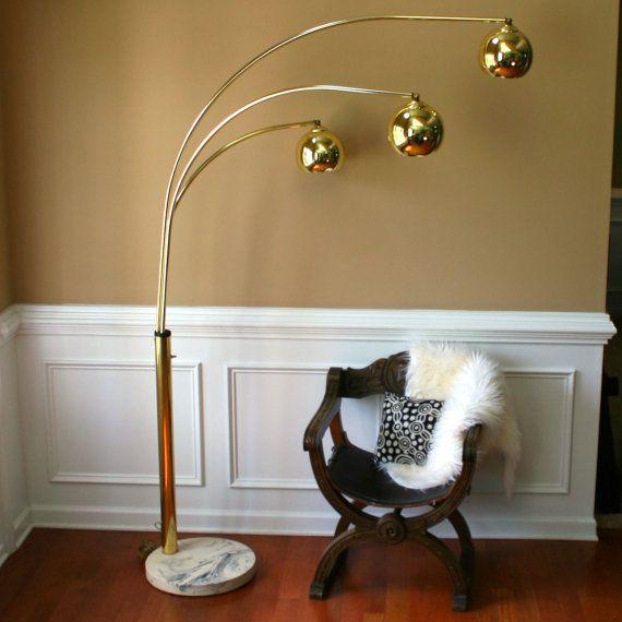 Brass Arc Lamp. 3 Arm Lamp. Gold. Mid Century Pendant Lamp. Orb Lamp. Three pendant lamps. Tall Floor Lamp. Retro. Mod. Glam.
