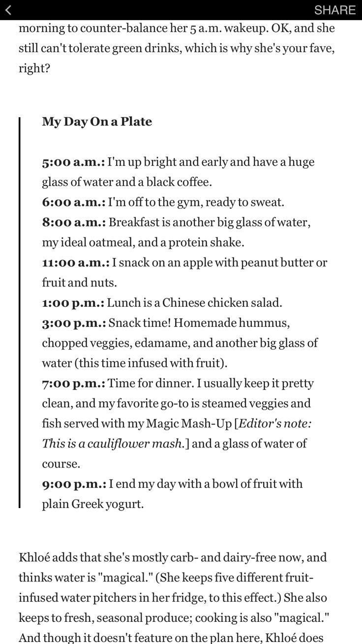Khloe Kardashian diet.