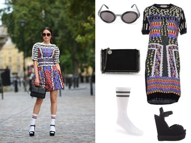 Unexpected tube socks compliment this @peterpilotto dress perfectly!