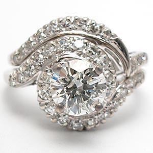 VINTAGE DIAMOND ENGAGEMENT WEDDING RING SET SOLID 18K WHITE GOLD