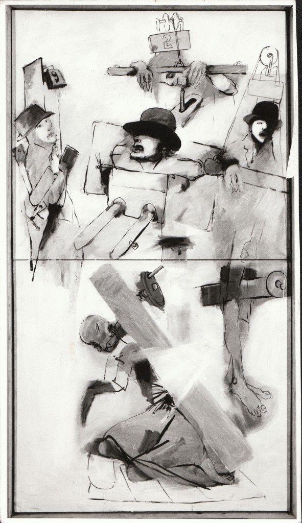 """Tadeusz Kantor, """"Świętoszka"""", obraz do spektaklu """"Niech sczezną artyści"""", Teatr Cricot 2, 1985, Stedelijk Museum voor Actuele Kunst. Gent"""