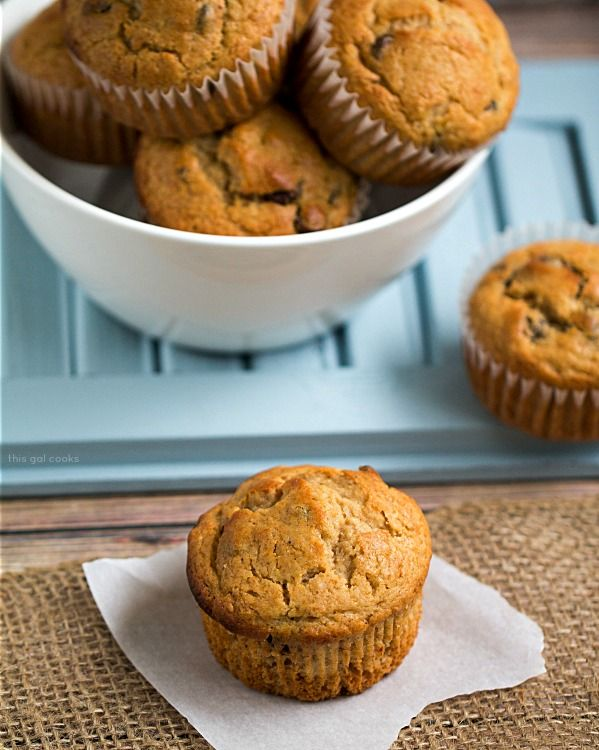Chocolate Chip Peanut Butter Banana Muffins - This Gal Cooks # ...