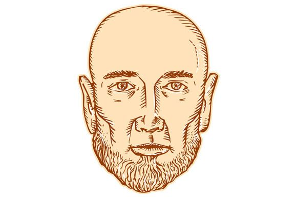 Male Bald Head Bearded Etching - Illustrations - 1