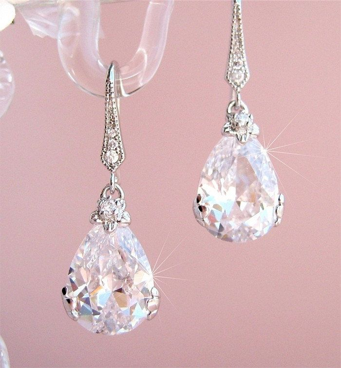 Bridal Earrings Wedding earrings Bride earrings Wedding. These might go well with the dress! I like the drop style ;)