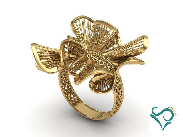3D printed Gold steel flower ring statement gift for her unique gift stacking ring modern jewellery Inspirational