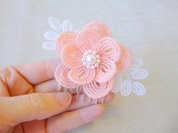 Beaded Flower Wedding Hair comb in peach and white by LaurensCreations
