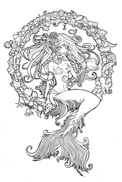 mermaid line art colored in instead of shells in a circle put script adult coloring pagescoloring - Mermaid Coloring Pages Adults