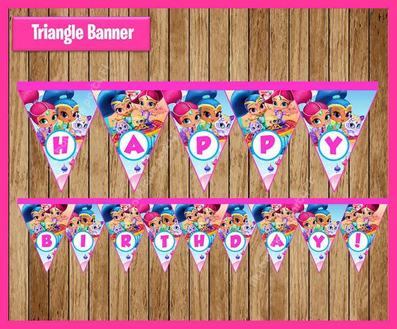 Shimmer and Shine Triangle Banner instant by myboutiquepartyfl