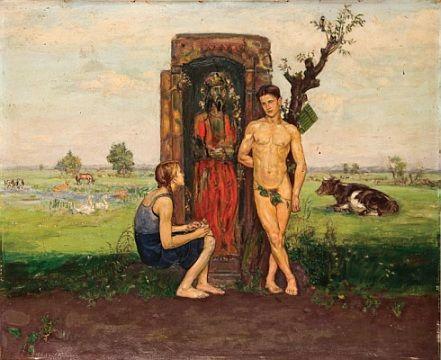 Vlastimil Hofman - Rozmowa z dziewczyną, 1913