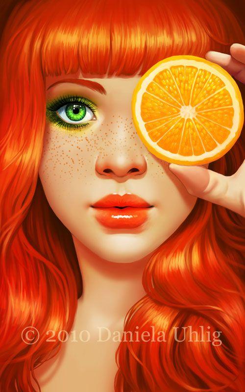 Red_Orange_by_lolita_art+Daniela+Uhlig+laranja+ruiva+olhos+verdes