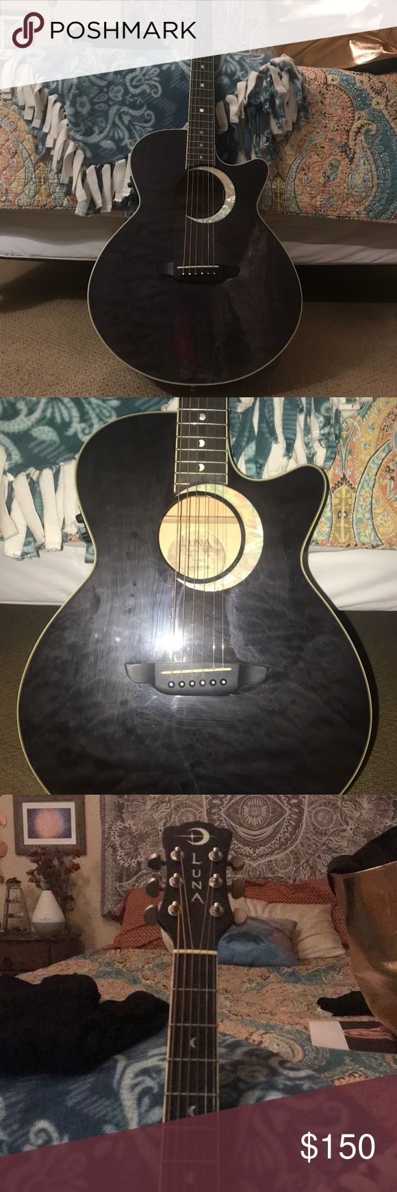 Luna eclipse guitar in black Luna eclipse guitar in black Six string One year old Only used a dozen times luna Accessories