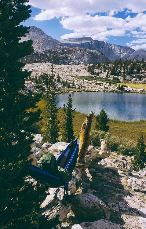 Lounging around at Cottonwood Lakes Trail, CA