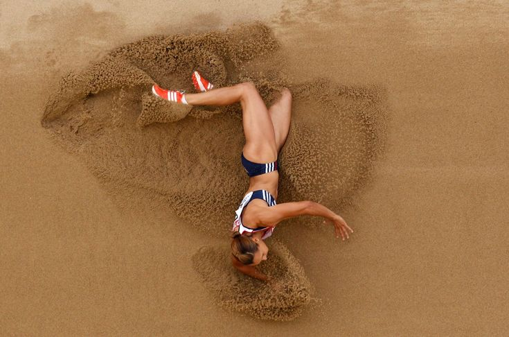 Britain's Jessica Ennis in the heptathlon long jump at the World Athletics Championships in Daegu, South Korea. Photograph: Kevin Frayer/AP