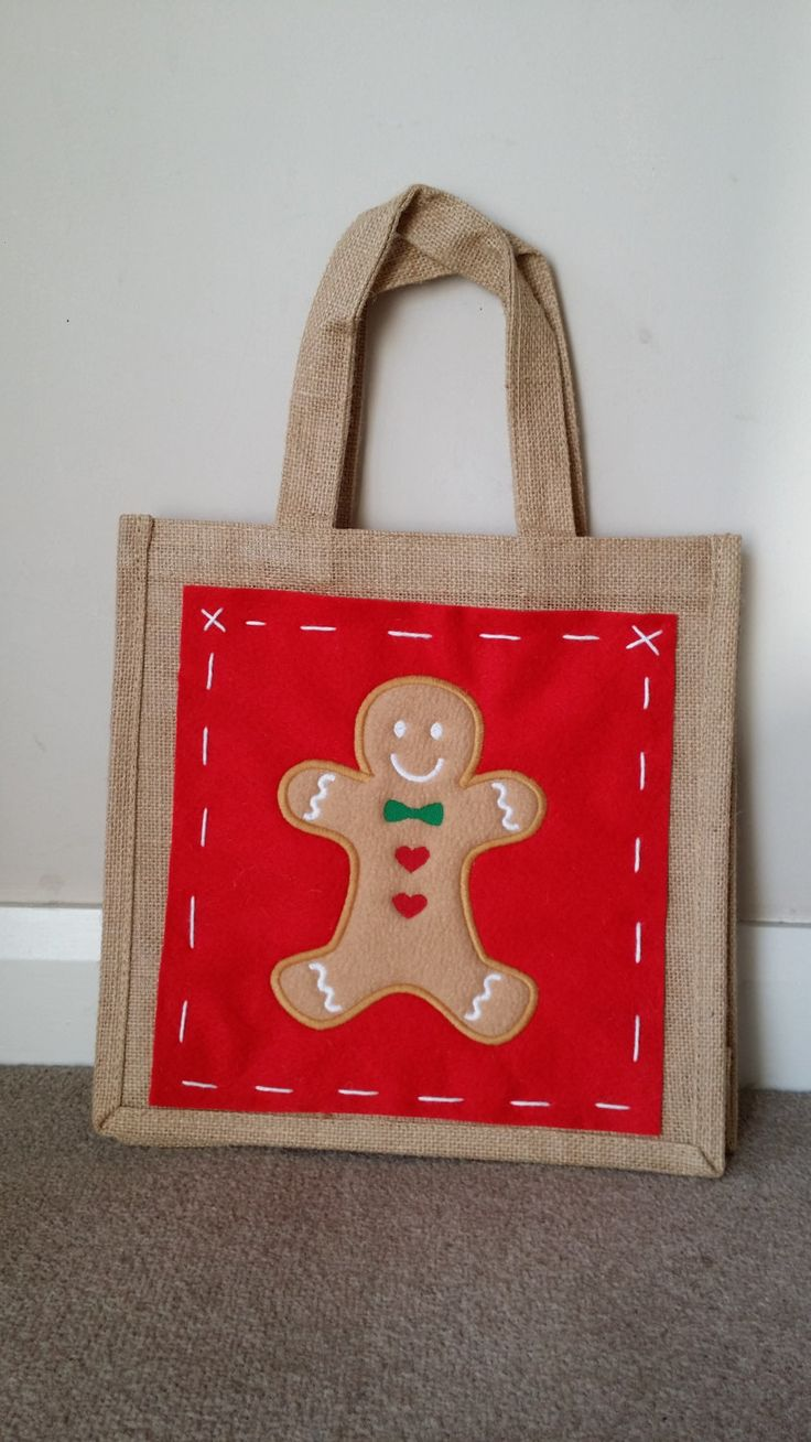 Jute bag with embroidered panel - Gingerbread Man Design by MadeByMAP on Etsy