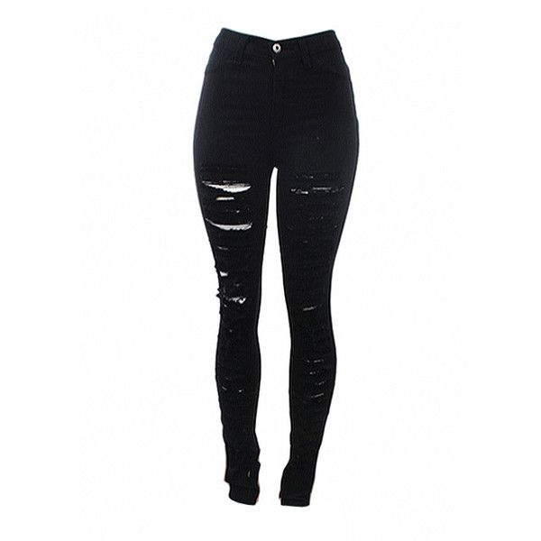 shredded black high waist jeans | edgy clothing | 7twentyfour.com ($54) ❤ liked on Polyvore featuring jeans, pants, bottoms, pantalones, highwaisted jeans, black high rise jeans, black skinny jeans, highwaist jeans and high-waisted jeans