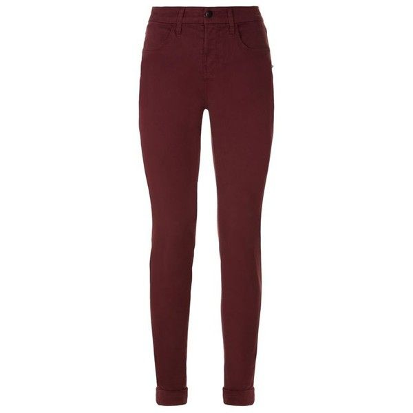 J Brand Anja Luxe Sateen Cropped Skinny Jeans (22.310 RUB) ❤ liked on Polyvore featuring jeans, pants, bottoms, calças, slim-leg jeans, red jeans, red skinny leg jeans, mid-rise jeans and denim skinny jeans