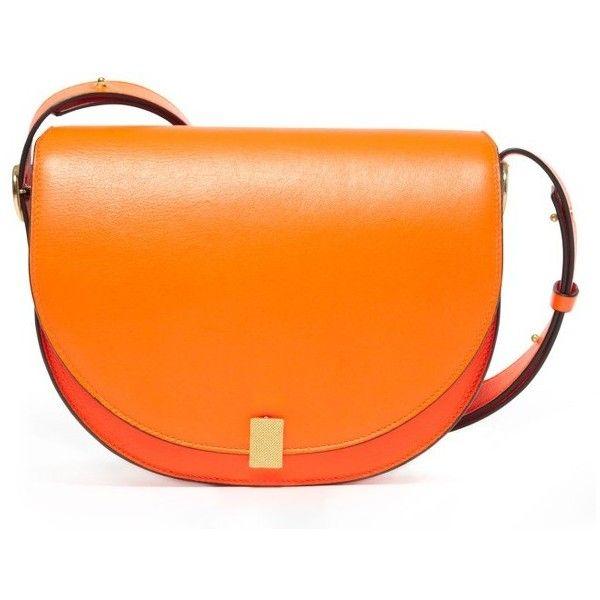 Women's Victoria Beckham Half Moon Box Shoulder Bag ($1,920) ❤ liked on Polyvore featuring bags, handbags, shoulder bags, neon orange, lambskin leather handbags, orange purse, neon handbags, lamb leather handbags and lambskin handbags