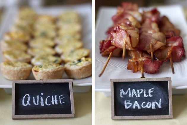 : Food Display, Brunch Ideas, Mini Quiches, Parties, Chalk Boards, Chalkboards Signs, Display Ideas, Maple Bacon, Baby Shower