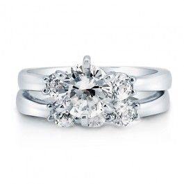 Round Cut CZ Sterling Silver 3-Stone Bridal 2-Pc Ring Set 1.28 Ct  style number: r693  $65.99: Bridal 2 Pc, Ct Style, R693 65 99, 2 Pc Ring, 3 Stone Bridal, Cut, Silver Rings, Bridal Ring Sets
