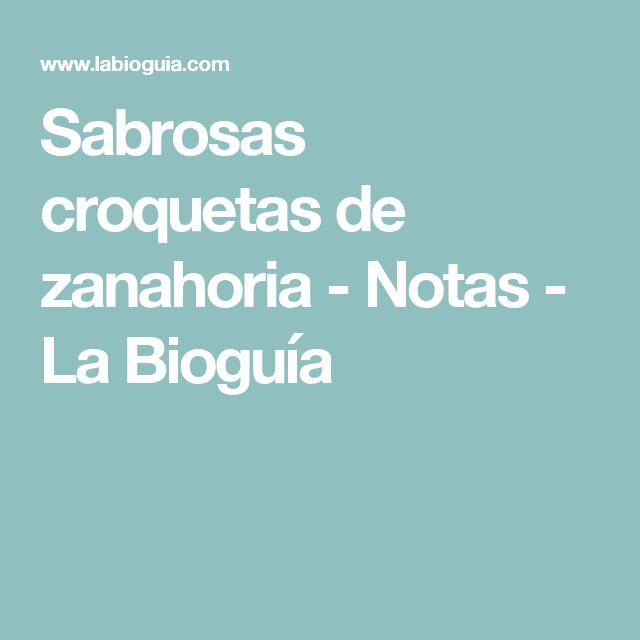 Sabrosas croquetas de zanahoria - Notas - La Bioguía
