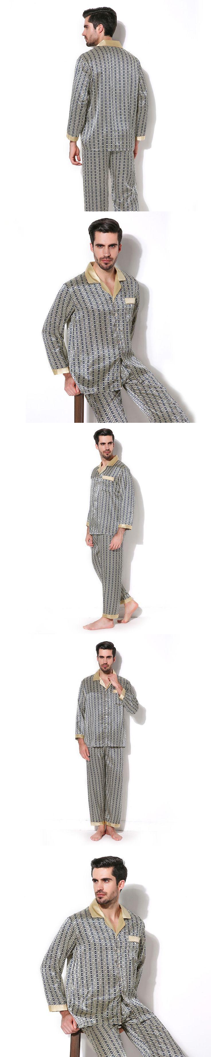 Luxury Male Sleepwear 100% Silk Long-Sleeve Men Pyjamas Pajama Sets Pants Autumn Men Silk Pajamas Set CMR16067