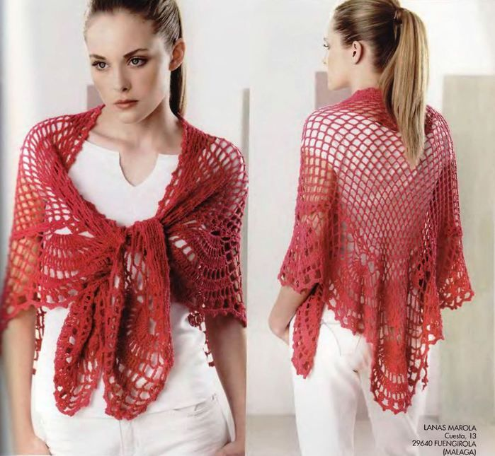 Crochet In Spanish : Lovely crochet shawl - Pattern in Spanish, English and French: Crochet ...