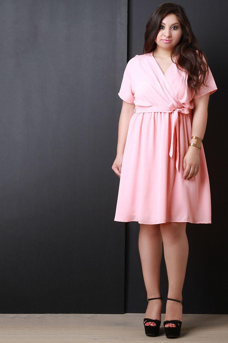 Short Sleeve Surplice Wrap Midi Dress