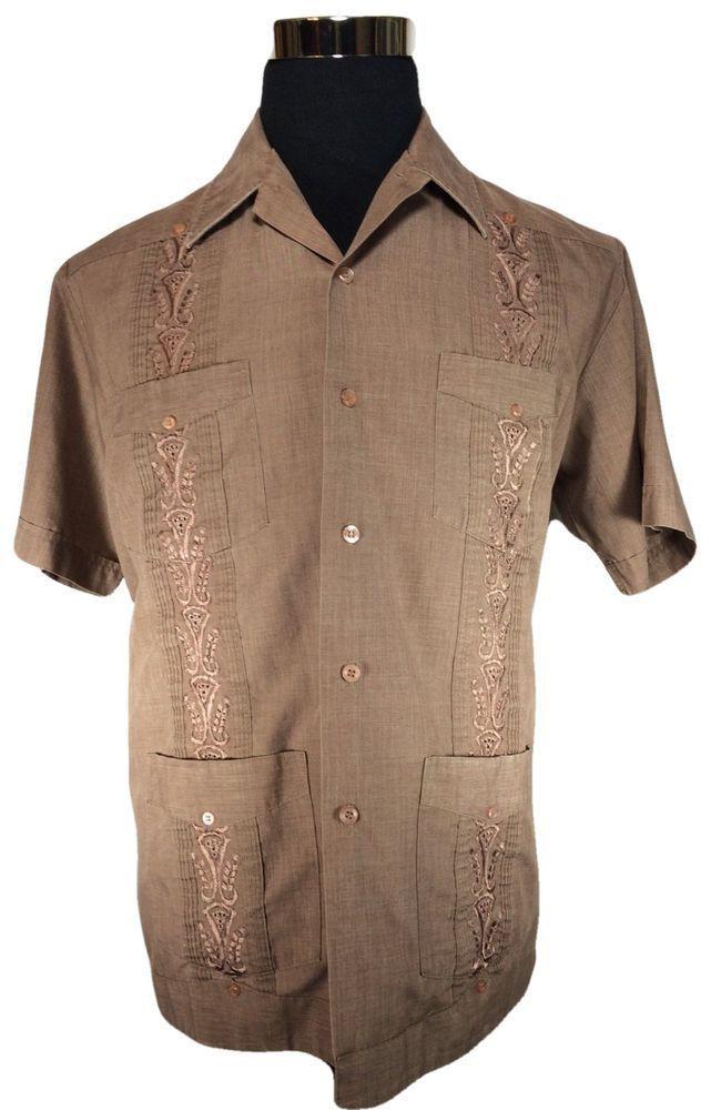 Guayabera Cuban Shirt Mens LARGE Brown Embroidered Wedding Bartender Beach…
