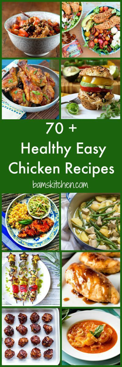 70 + Healthy Easy Chicken Recipes / GRILLED/ STOVETOP/ LESS THAN 30 MINS/ BAKED/ SOUPS/ STEWS/ CURRIES/ SLOW COOKER/ MANY GLUTEN-FREE/PALEO/ LOW FAT/ LOW CARB/DIABETIC FRIENDLY/CARDIAC FRIENDLY and DELICIOUS. There is something for everyone! Recipes from amazing bloggers from around the world. http://bamskitchen.com: 70 + Healthy Easy Chicken Recipes / GRILLED/ STOVETOP/ LESS THAN 30 MINS/ BAKED/ SOUPS/ STEWS/ CURRIES/ SLOW COOKER/ MANY GLUTEN-FREE/PALEO/ LOW FAT/ LOW CARB/DIABETIC…