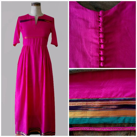 Boho Maxi Dress in Fuchsia Pink Crafted from an Indian Sari