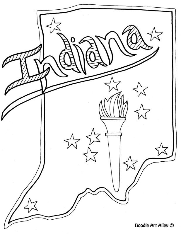 Indiana Coloring Page By Doodle Art Alley