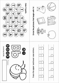 Phonics Letter of the Week B. No prep, foldable activity mini book.