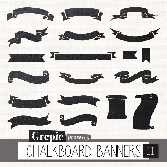 """Chalkboard banners clipart: Digital clipart """"CHALKBOARD BANNERS"""" pack with chalkboard banners, ribbons, tags made of a real chalkboard on Etsy, $5.36 CAD"""