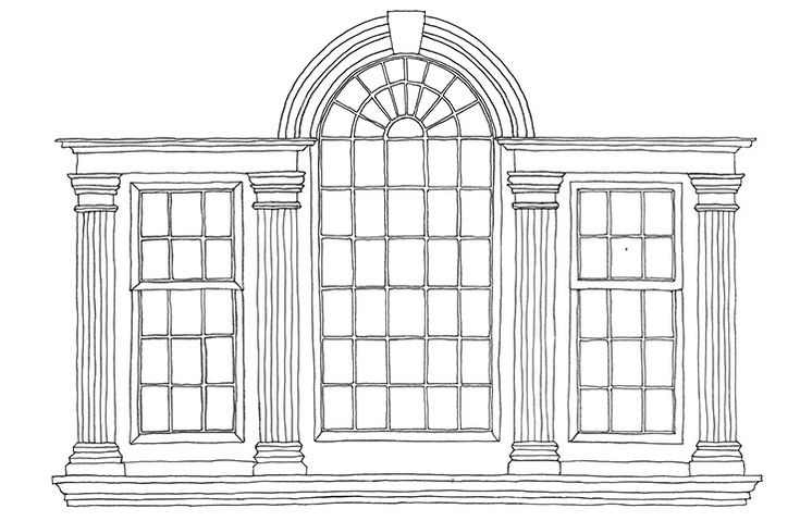 "Palladian Window, slso called a ""Venetian window"" or a ""serliana"", this was an essential ingredient for most neoclassical buildings. A window in three parts, with the central light rising taller to be rounded off in an arch and the two side lights flanked by pilasters and crowned by entablatures. Smooth, smart and satisfyingly symmetrical. Credit: Emma Kelly"