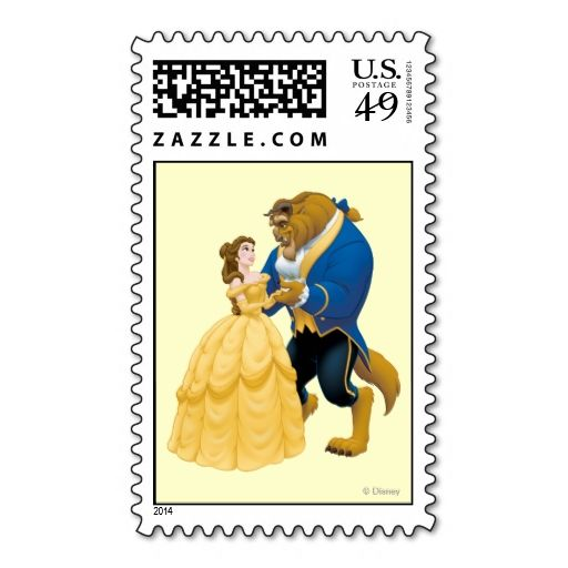 Belle and Beast Dancing Stamp. This great stamp design is available for customization or ready to buy as is. Of course, it can be sent through standard U.S. Mail. Just click the image to make your own!