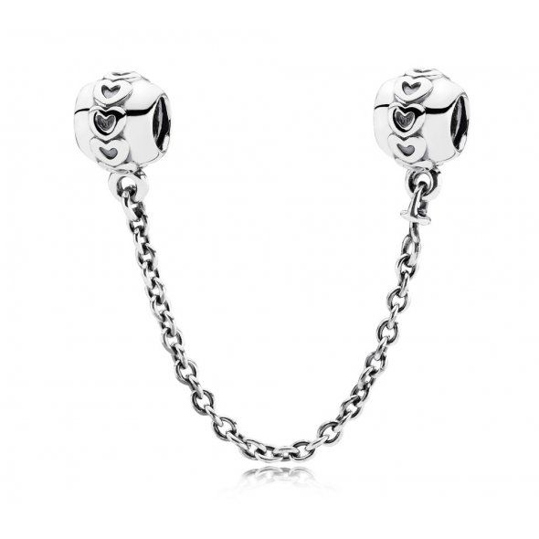 SILVER AND ETERNAL HEARTS SAFETY CHAIN