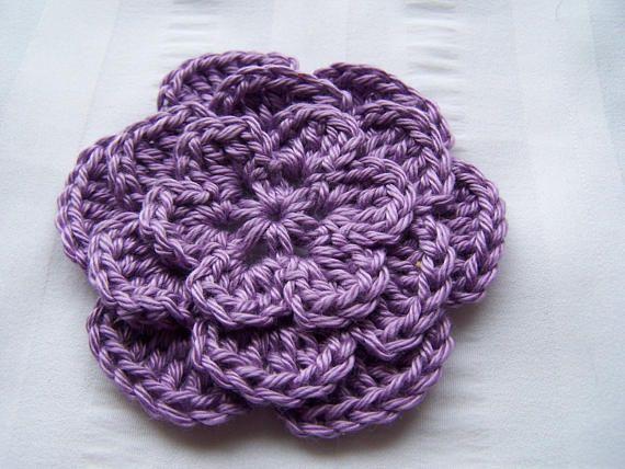 Crochet flower 3 inch Pima cotton purple set of one flower