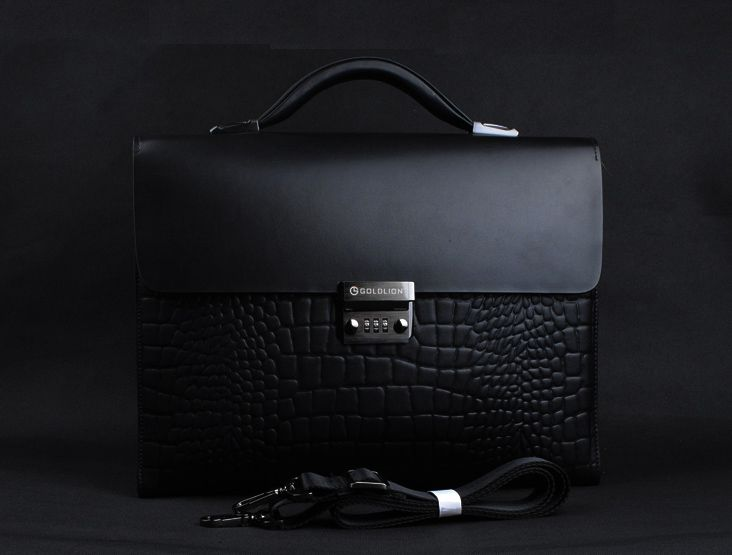 Cool Crocodile Leather Briefcase For Men
