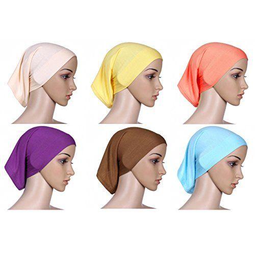 Women Durable Elastic Cotton Turban Headband Hajib Housework Jog Yoga (Colorful 3)