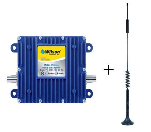 Wilson SIGNALBOOST Mobile and Home/Office Cellular/PCS Amplifier (801201) and 12 Dual Band Magnet Mount Antenna (301103) Works with all Cellular/PCS cell phones and laptop data cards (except iDEN, Nextel). Works on all generations of CDMA, TDMA and GSM. Up to 10 times more power than your cell phone or laptop data card. Significantly improves voice and data signal quality. Works great in mobile, ... #Wilson #CE