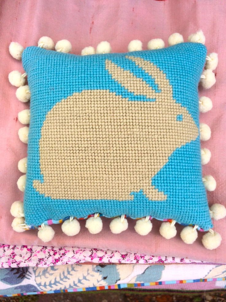Rabbit needlepoint kit in blue and cream at www.madinengland.com