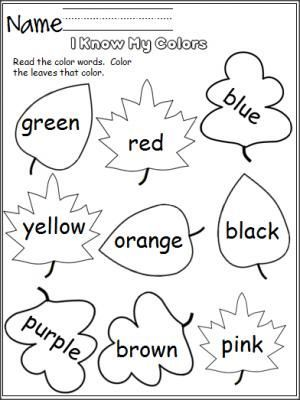 Free color worksheet.  Perfect for the fall.  Students read the color words and color the leaves that color.