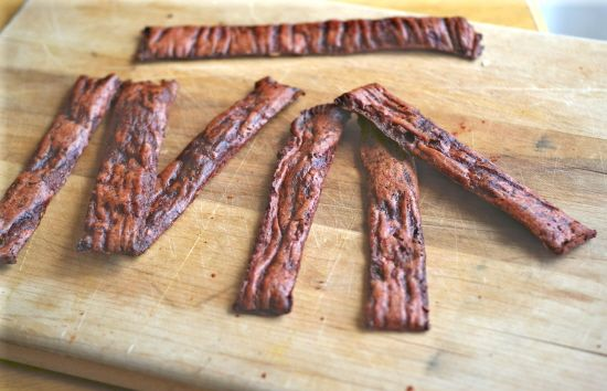 """""""Beef"""" Jerky: a great snack to take on the road, camping--or while watching TV. gluten-free, whole foods ingredients."""