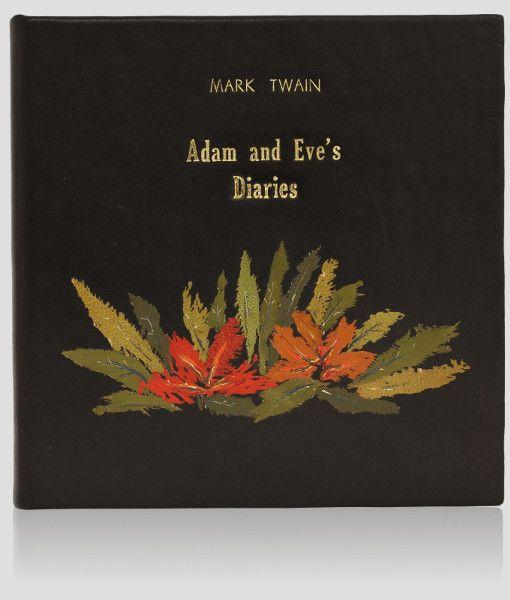 """""""Adam and Eve's Diaries"""" - Mark Twain. Artistic leather binding of an unique book. Edycja angielska. Luksusowa książka artystyczna. Oprawy unikatowe. http://www.kurtiak-ley.pl/twain-mark-adam-and-eves-diaries/."""