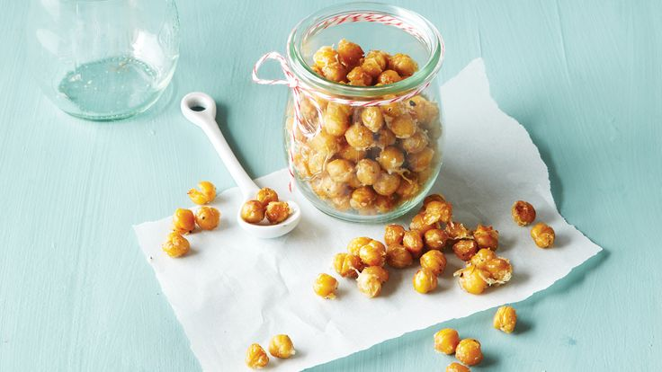 Garlic Parmesan Roasted Garbanzo Beans. Salty Parmesan and pungent garlic mingle with crunchy roasted chickpeas in our reader's winning recipe, which she created as a snack for her nut-allergic sons.