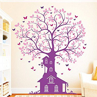 Vintage Wandtattoo Loft Wandaufkleber Baum Haus Schmetterling farbig Wandtattoo Bitte teilen